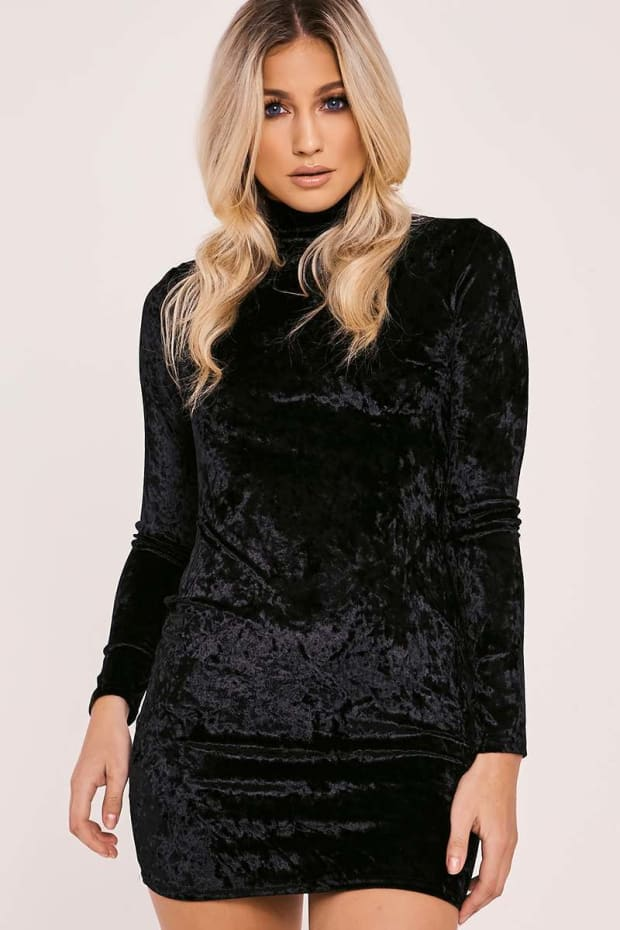 CAOIMHE BLACK CRUSHED VELVET HIGH NECK BODYCON DRESS