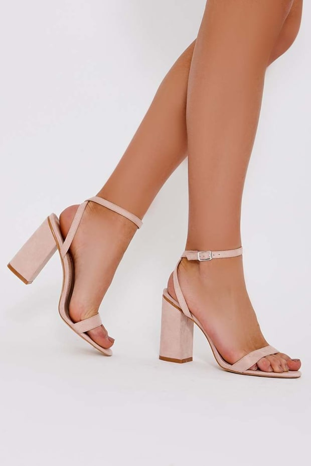SKY NUDE FAUX SUEDE BARELY THERE BLOCK HEELS