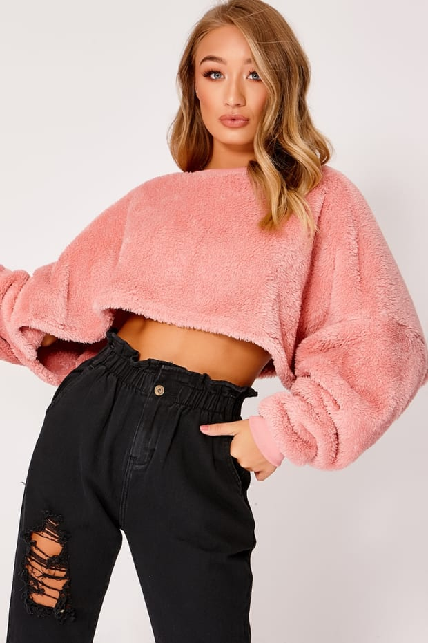 NAT BABY PINK TEDDY FUR CROP JUMPER