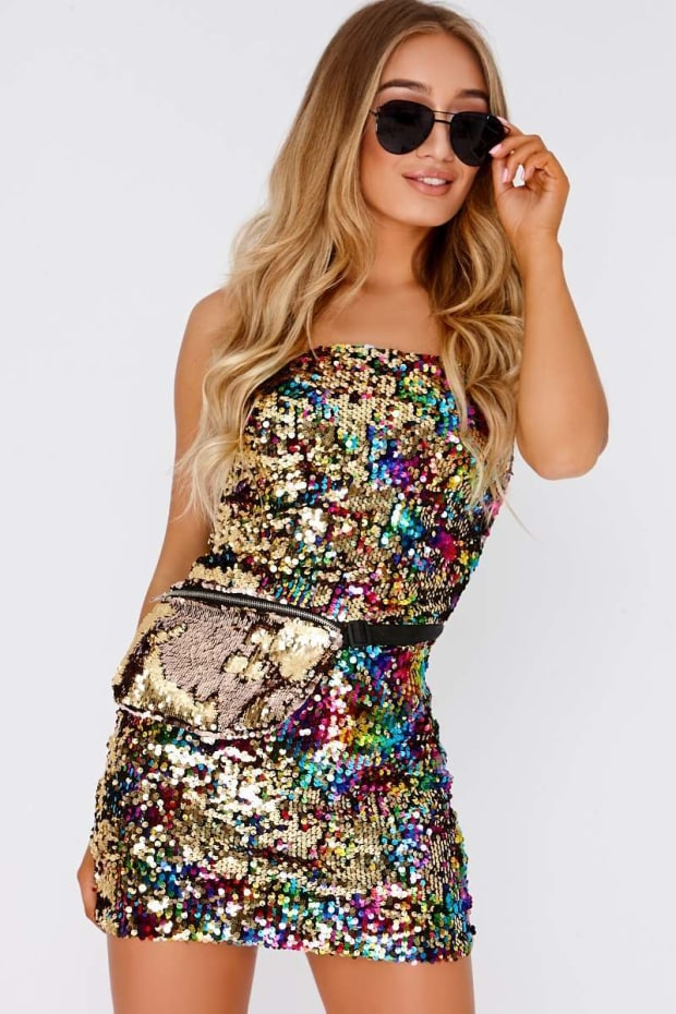 FANCIA MULTICOLOURED SEQUIN STRAPPY MINI DRESS