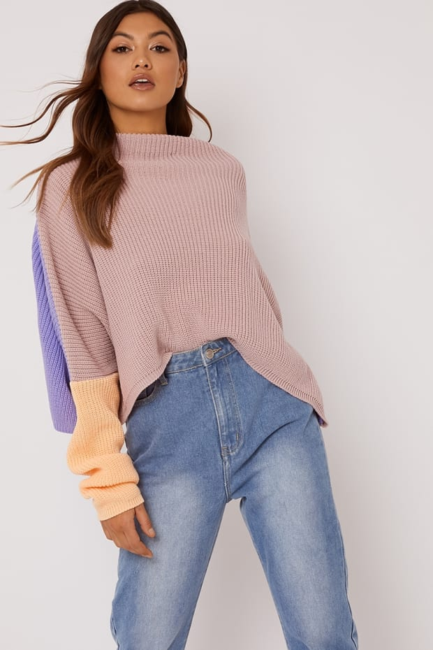 SIENNAH Multi colour Block High Neck Jumper