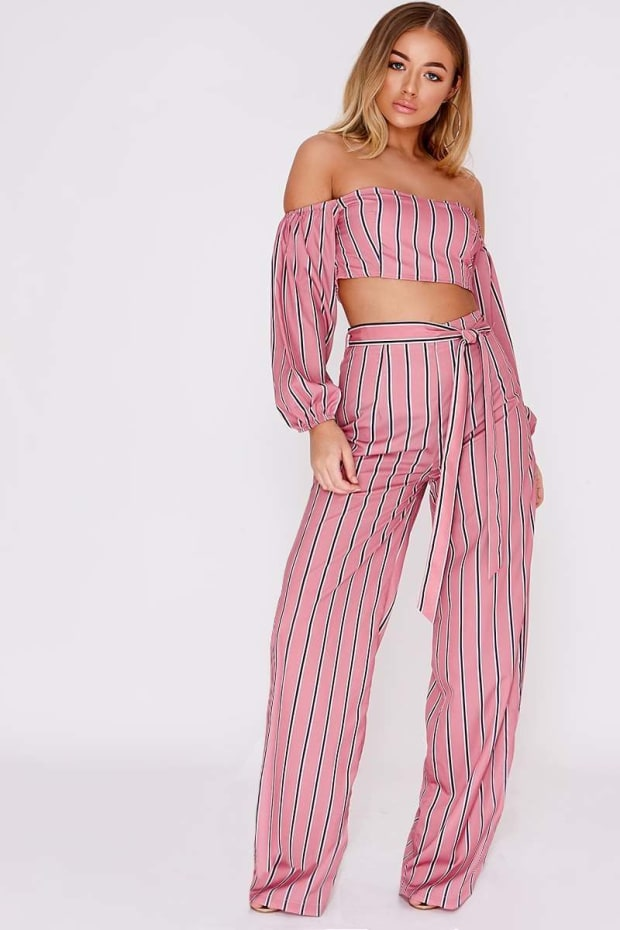 BILLIE FAIERS PINK STRIPE TIE SIDE PALAZZO TROUSERS