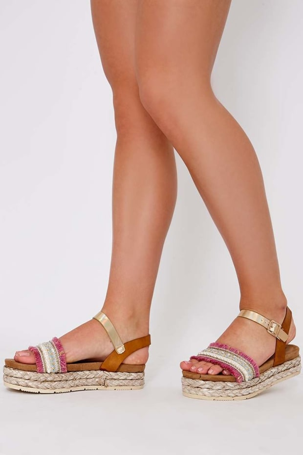 TRIBAL PINK EMBELLISHED FRINGED ESPADRILLES