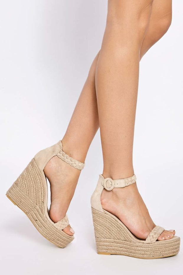 ALLERIE CREAM PLAITED ANKLE SUEDE WEDGES