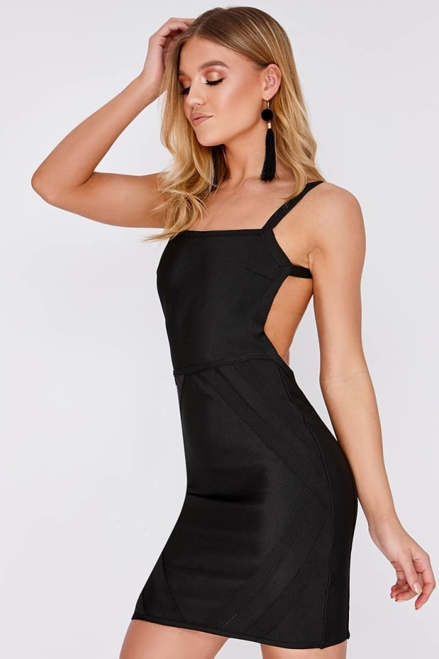 CARLYN BLACK BACKLESS BANDAGE MINI DRESS