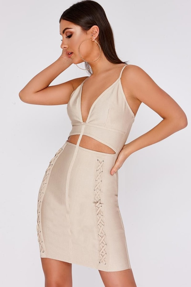 DARIANA STONE CUT OUT LACE UP BANDAGE DRESS