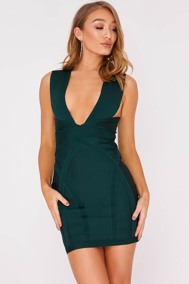 DELVINE GREEN PLUNGE BANDAGE DRESS