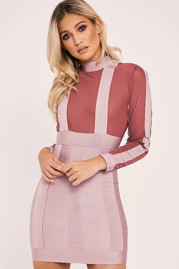 DALYA BURGUNDY LONG SLEEVE PANEL BANDAGE BODYCON DRESS