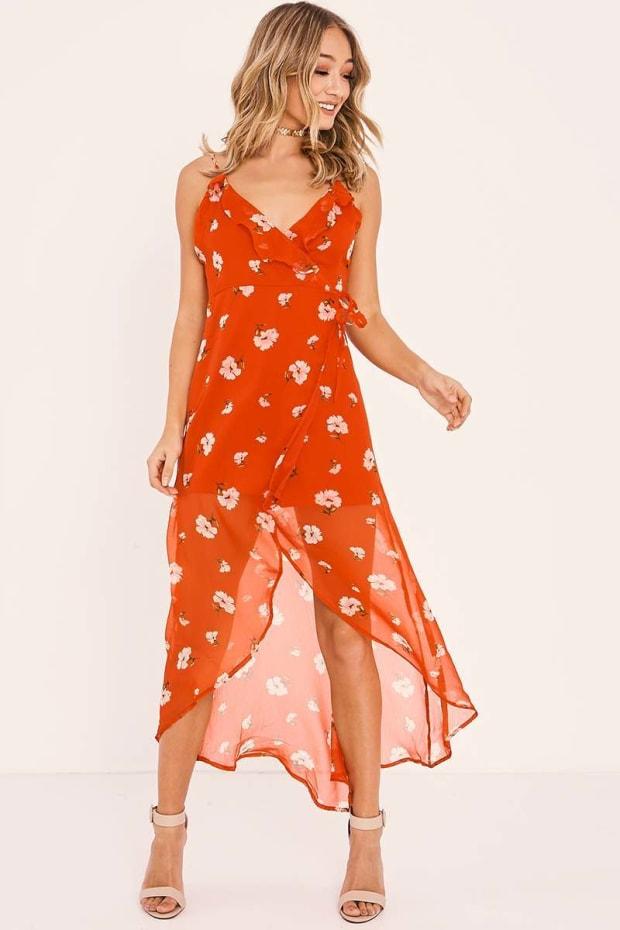 JESSYE RED FLORAL WRAP FRONT TIE WAIST MAXI DRESS