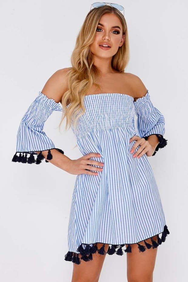FLISS BLUE STRIPE TASSEL TRIM BARDOT DRESS