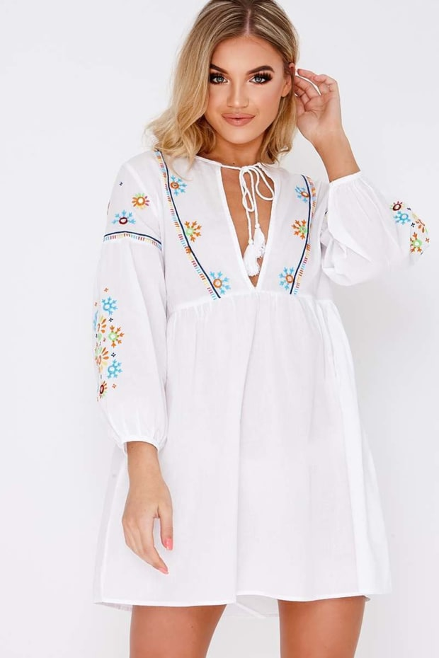 GOLDIA WHITE EMBROIDERED PLUNGE TIE NECK DRESS