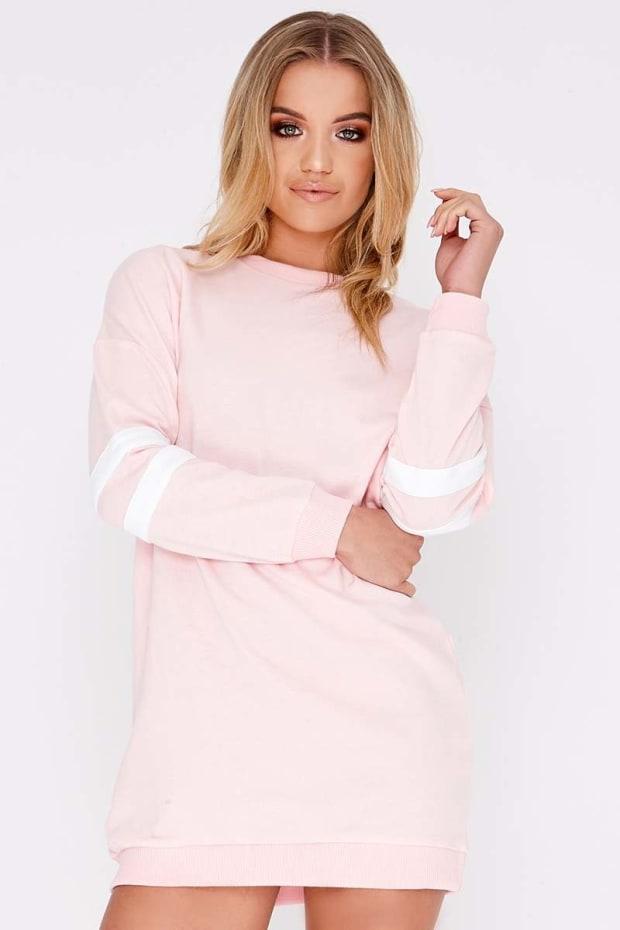 CAITLIE PINK SPORTS STRIPE SWEATER DRESS