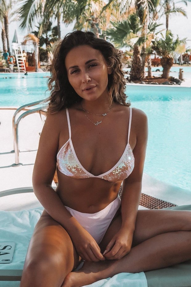 SARAH ASHCROFT PEACH SEQUIN BIKINI TOP