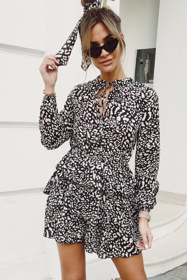 8916aec02a1 Emily Shak Black Leopard Print Button Detail Tiered Dress