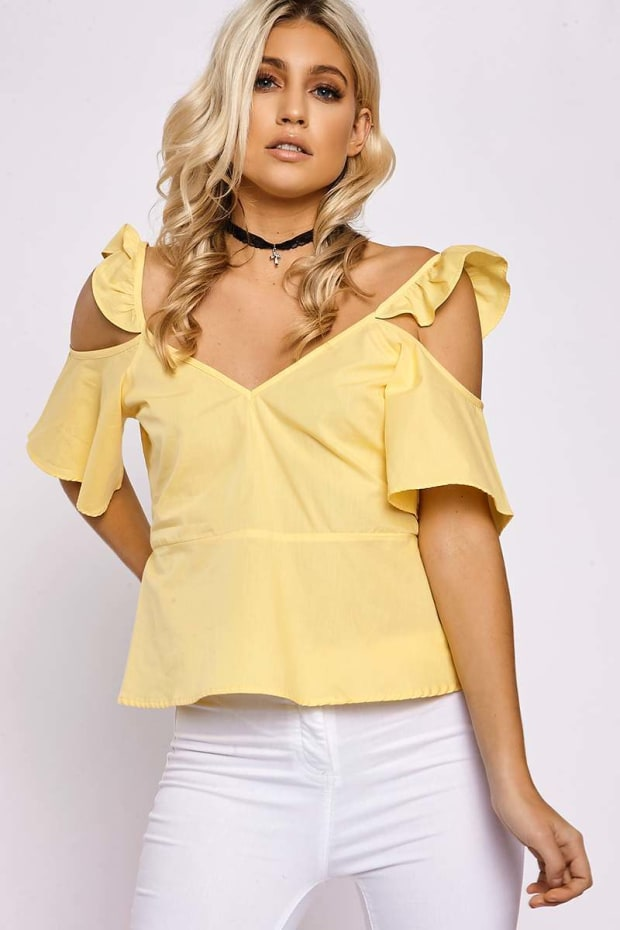 KENNEDIE YELLOW FRILL COLD SHOULDER TOP