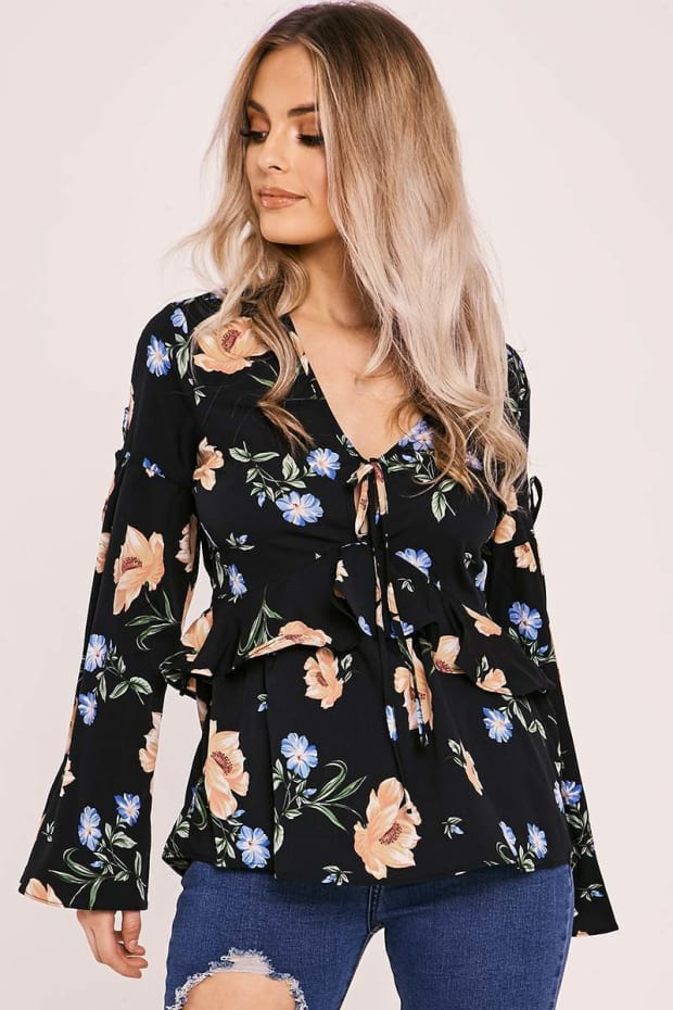 LARAY BLACK FLORAL TIE FRONT TOP