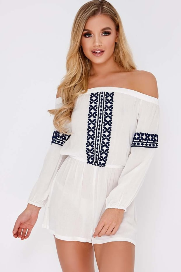 ESTELE WHITE EMBROIDERED BARDOT PLAYSUIT