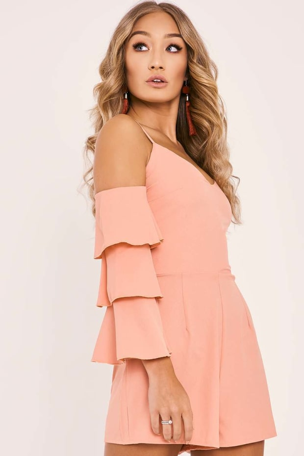 SAMIA PEACH COLD SHOULDER FRILL SLEEVE PLAYSUIT