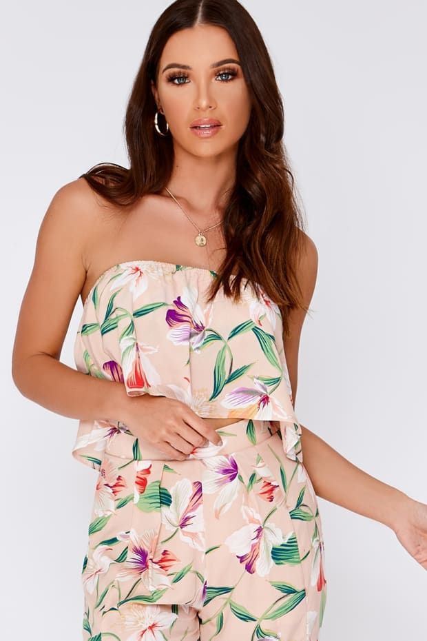 JAYCIE NUDE TROPICAL FLORAL BANDEAU FRILL TOP