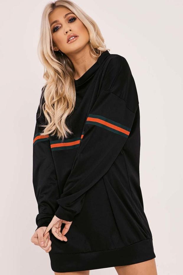 LEIGHLA BLACK STRIPE SWEATER DRESS