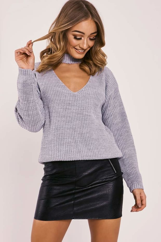 MIRAL GREY LUREX CHOKER NECK KNITTED JUMPER