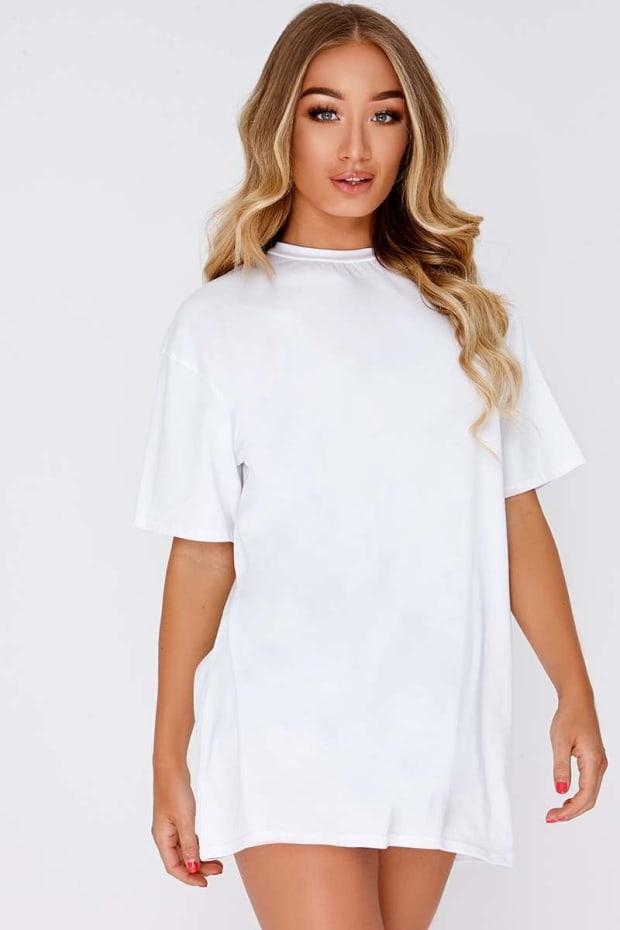 CYNDI WHITE BASIC T SHIRT DRESS