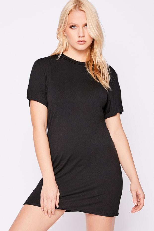 BASIC BLACK JERSEY T SHIRT DRESS