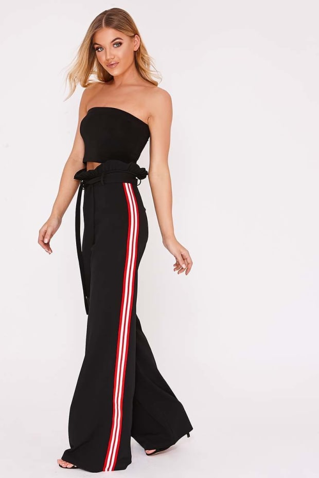 MYIAH BLACK SPORTS STRIPE WIDE LEG PAPERBAG TROUSERS