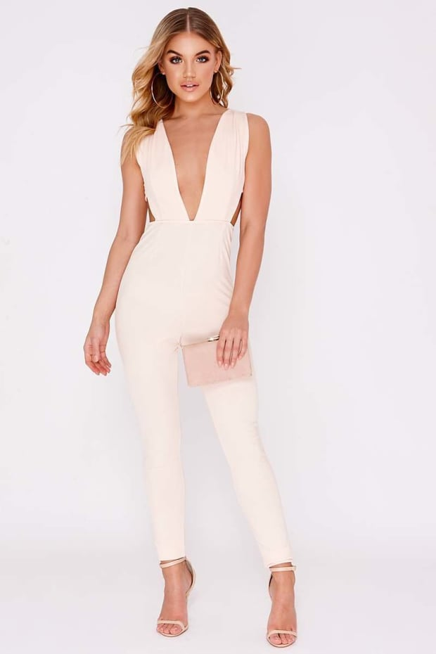 KIYA NUDE PLUNGE CUT OUT PANEL JUMPSUIT