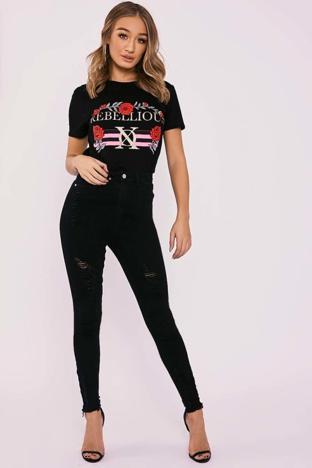 LENNON BLACK HIGH WAISTED DISTRESSED SKINNY JEANS
