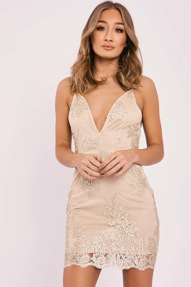 AERYN GOLD METALLIC LACE PLUNGE MESH MINI DRESS