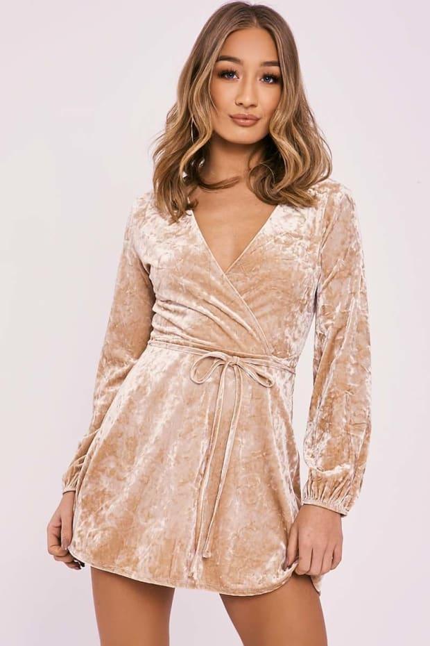 DAMITA GOLD CRUSHED VELVET WRAP DRESS