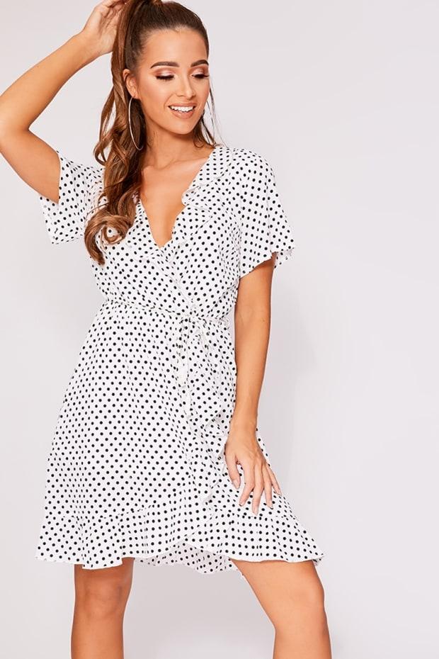 efad026de93 Cayly White Polka Dot Frill Wrap Dress