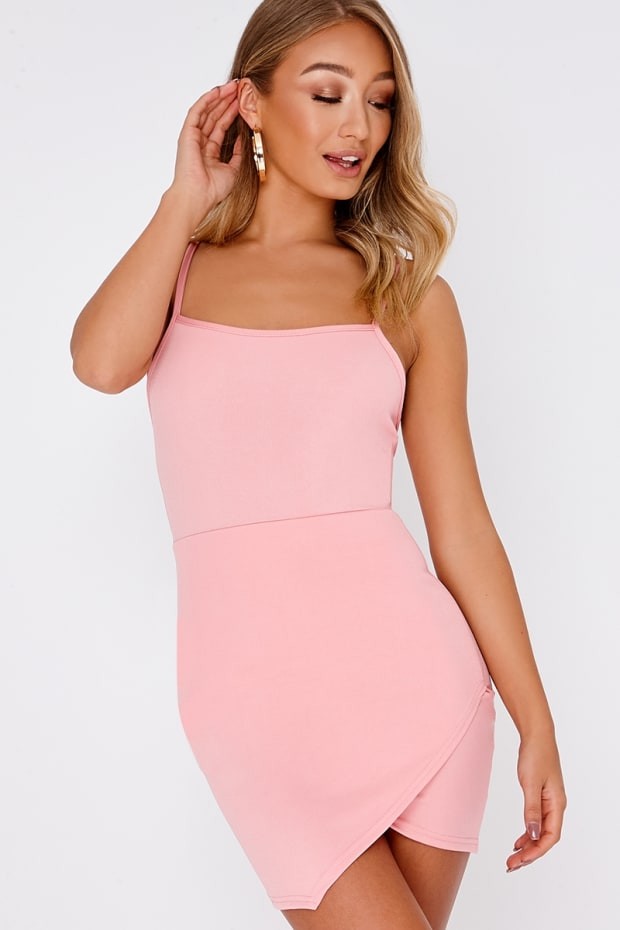 DESSY PINK LACE UP BACK BODYCON DRESS