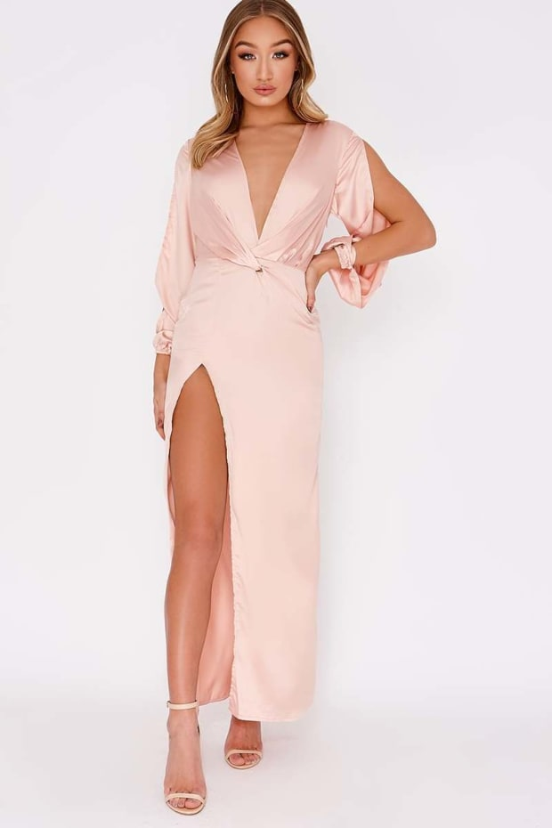 GAGA NUDE SATIN PLUNGE SPLIT SLEEVE MAXI DRESS