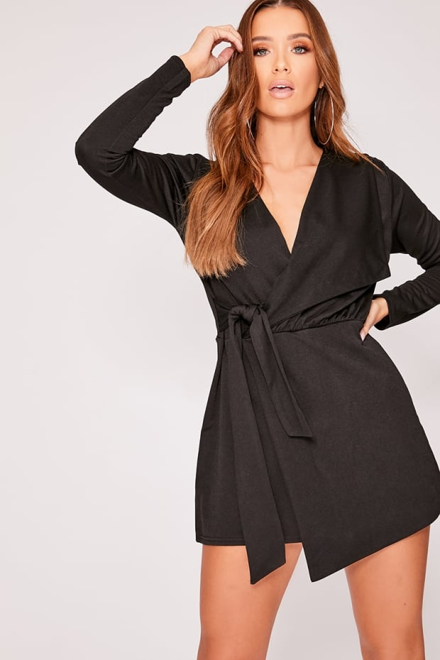 FRANKLYN BLACK PLUNGE WRAP OVER PLAYSUIT