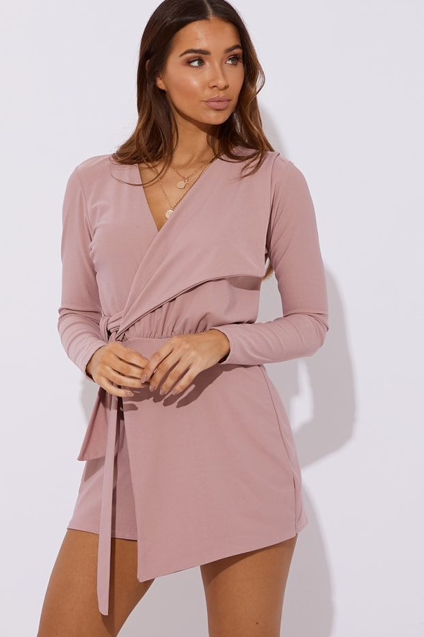 FRANKLYN BLUSH PLUNGE WRAP OVER PLAYSUIT