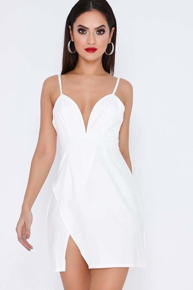 AMBERLEE WHITE STRAPPY PLUNGE SPLIT SIDE DRESS