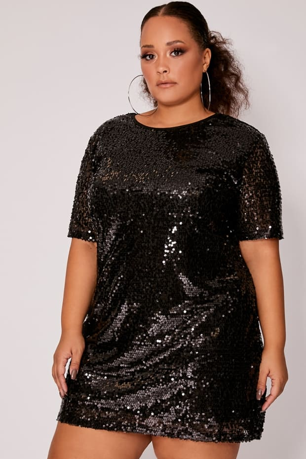 CURVE MADELINE BLACK SEQUIN T SHIRT DRESS