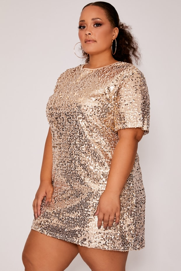 CURVE MADELINE GOLD SEQUIN T SHIRT DRESS