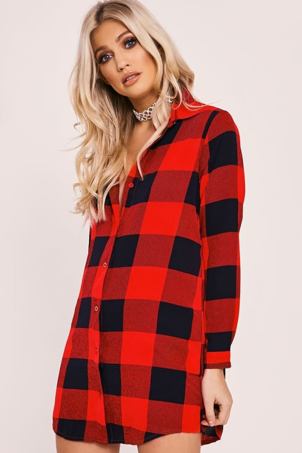 ELEANA RED CHECKED SHIRT DRESS