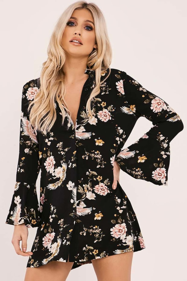 ELECTRA BLACK FLORAL FLARED LONG SLEEVE SILKY SHIRT DRESS
