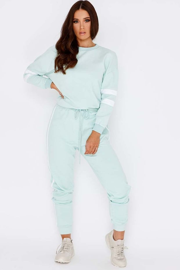 LARMINA MINT GREEN SPORTS STRIPE JOGGERS