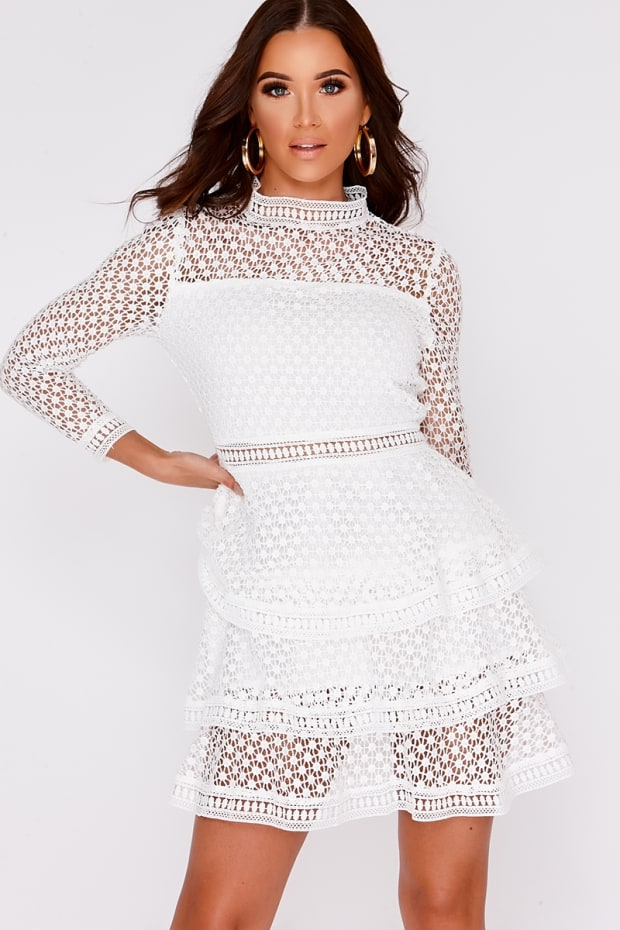 AMYA WHITE CROCHET LACE LAYERED DRESS