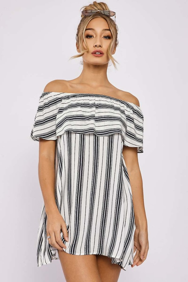 JENISE NAVY STRIPED BARDOT FRILL DRESS