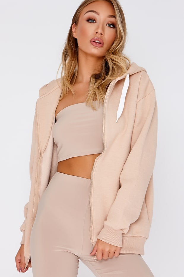 IVAY NUDE LONGLINE ZIP THROUGH HOODIE