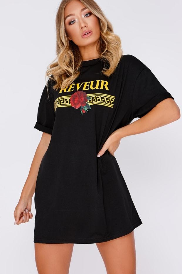 BLACK REVEUR SLOGAN T SHIRT DRESS