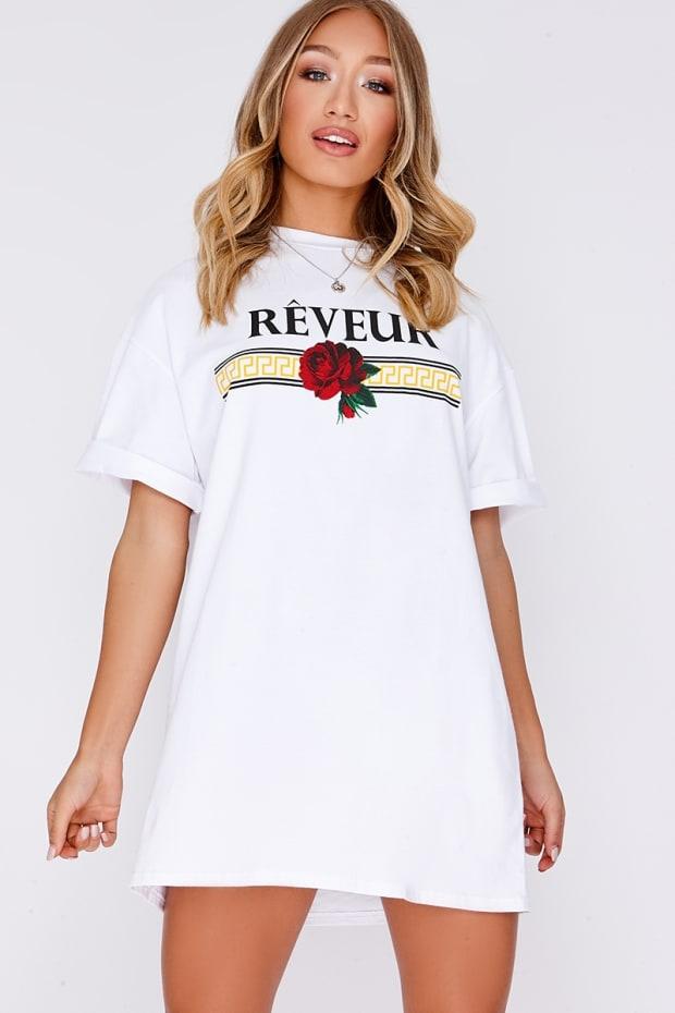WHITE REVEUR SLOGAN T SHIRT DRESS