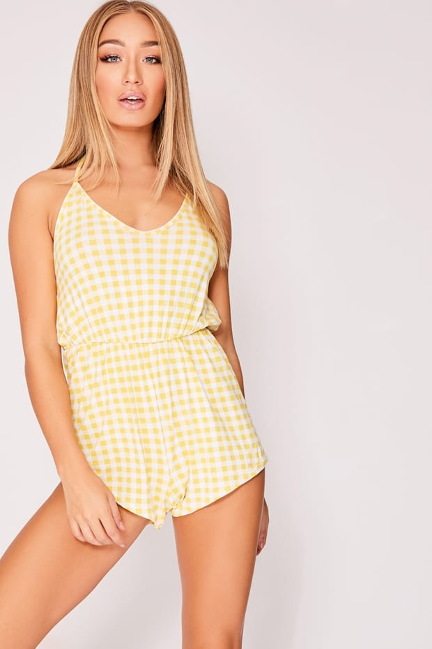 FALISA YELLOW GINGHAM JERSEY HALTERNECK PLAYSUIT
