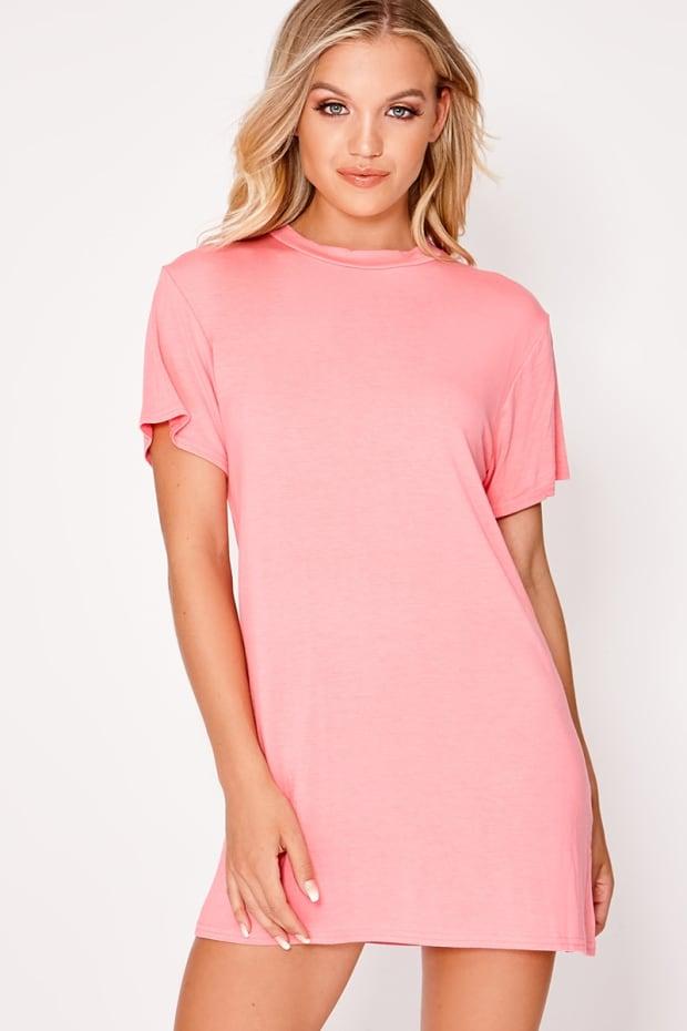 BASIC PINK JERSEY T SHIRT DRESS